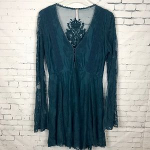 Free People Reign Over Me Lace Dress Teal